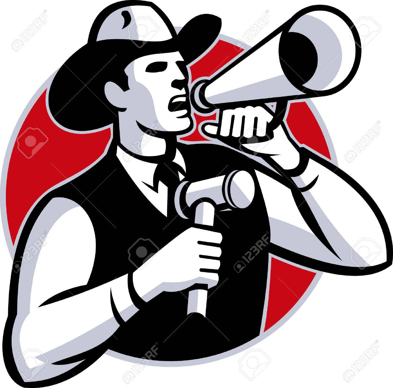 Illustration of a cowboy auctioneer with gavel hammer shouting on bullhorn set inside circle done in retro style. - 35306060
