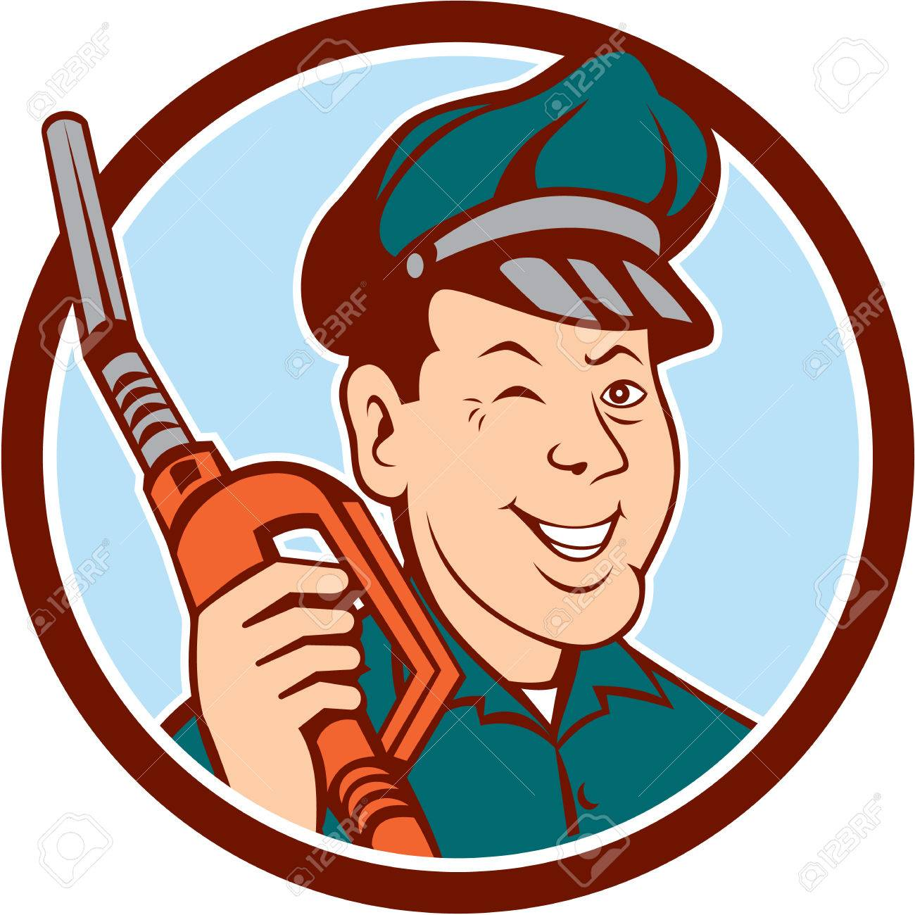 Illustration of gas gasoline fuel attendant worker winking smiling holding fuel pump nozzle - 35641210-Illustration-of-gas-gasoline-fuel-attendant-worker-winking-smiling-holding-fuel-pump-nozzle--Stock-Vector
