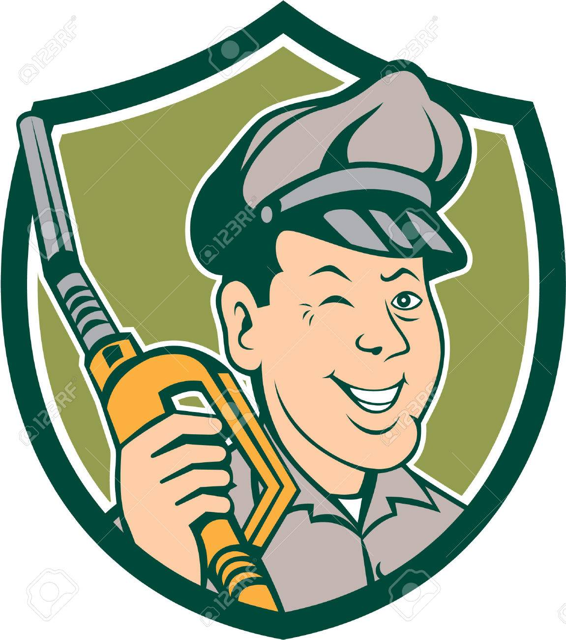 Illustration of gas gasoline fuel attendant worker winking smiling holding fuel pump nozzle - 35641223-Illustration-of-gas-gasoline-fuel-attendant-worker-winking-smiling-holding-fuel-pump-nozzle--Stock-Vector