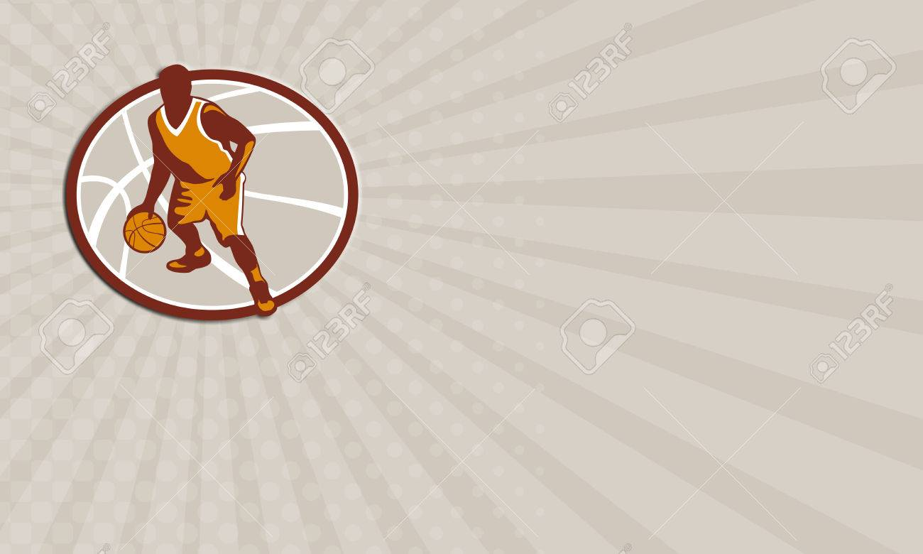 Carte De Visite Montrant Illustration Dun Joueur Basket Ball