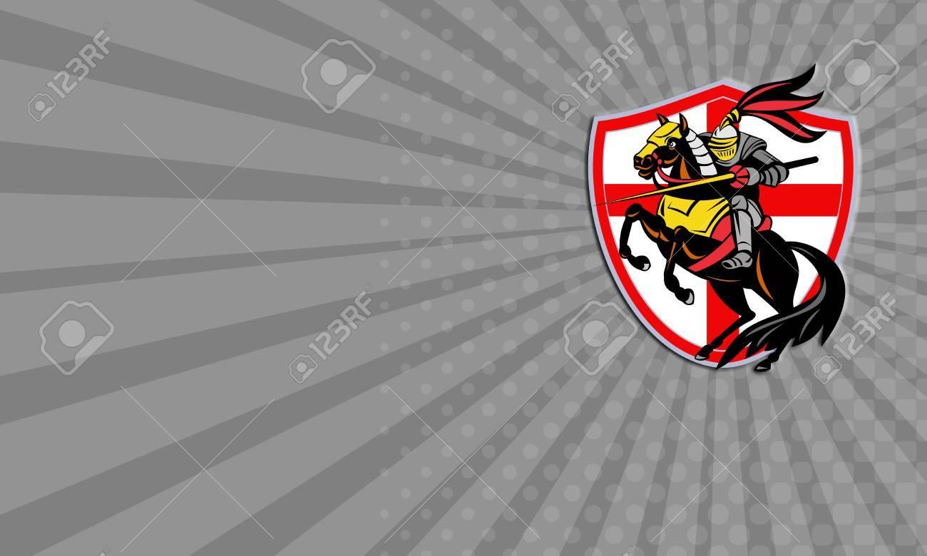 Carte De Visite Montrant Illustration Dun Chevalier Anglais En Armure A Cheval Armes De Lance Et Le Drapeau Angleterre En Arriere Plan Fait Dans