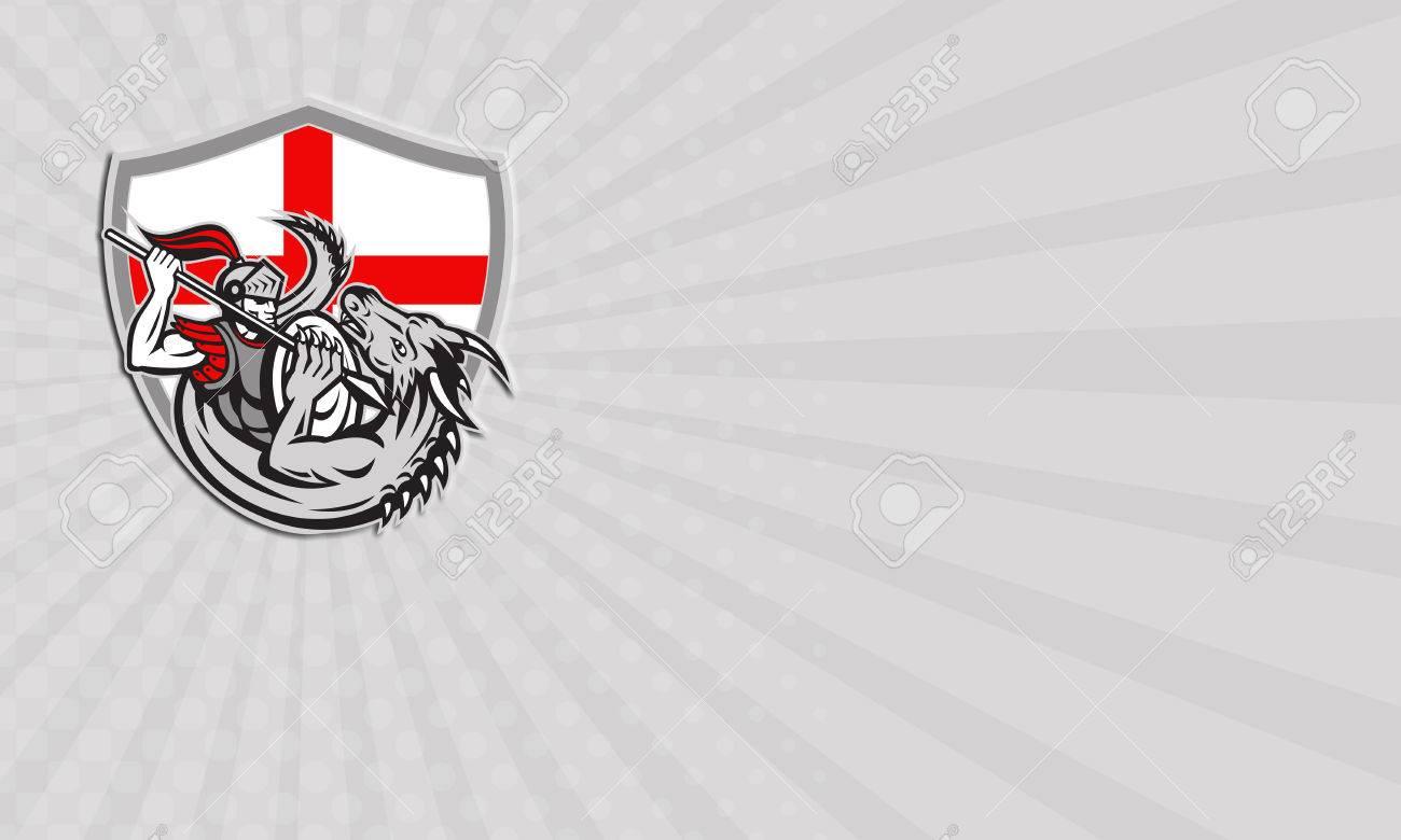 Carte De Visite Montrant Illustration Dun Chevalier Anglais En Armure Complete Avec Lance Combats De Dragon Avec Le Drapeau Angleterre En