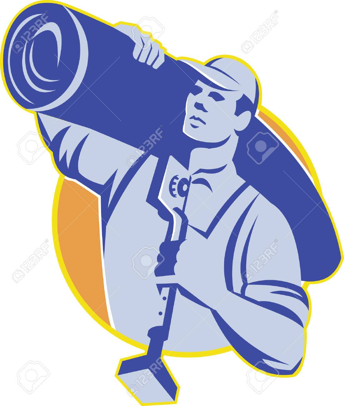 Illustration of a carpet layer carrying a roll of carpet on shoulder holding a knee kicker tool set inside circle done in retro style. Stock Vector - 35643023