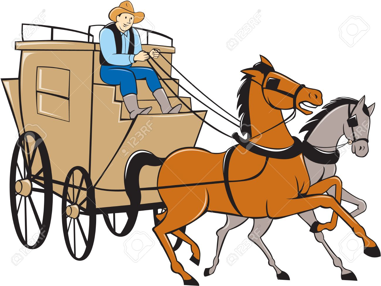 Illustration of a stagecoach driver riding a carriage driving two horses on isolated white background done in cartoon style. - 36303260