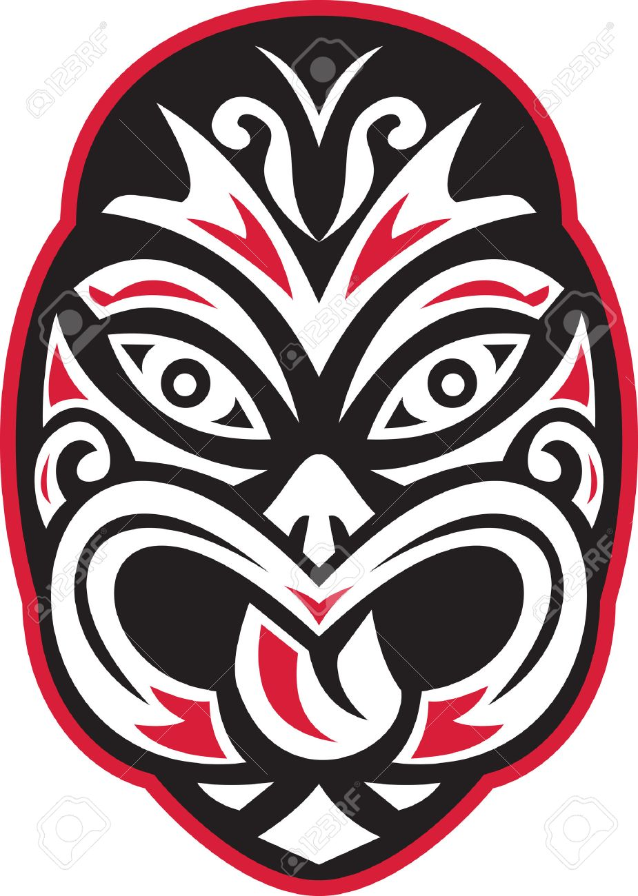 Illustration of a maori tiki moko tattoo mask facing front on isolated white background done in retro style. - 36833893
