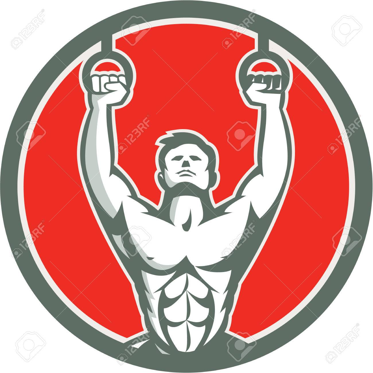 Illustration of a crossfit athlete body weight exercise hanging hangoing on gymnastic rings kipping muscle up facing front inside shield crest done in retro style on isolated white background - 36934341