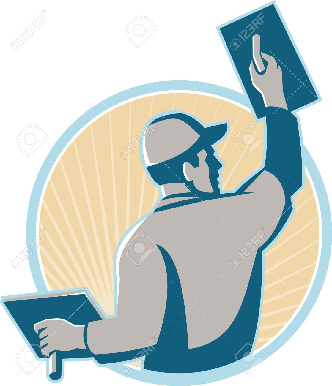 Illustration of a plasterer construction mason worker with trowel at work set inside a circle with sunburst in the background done in retro style. Stock Vector - 37095303