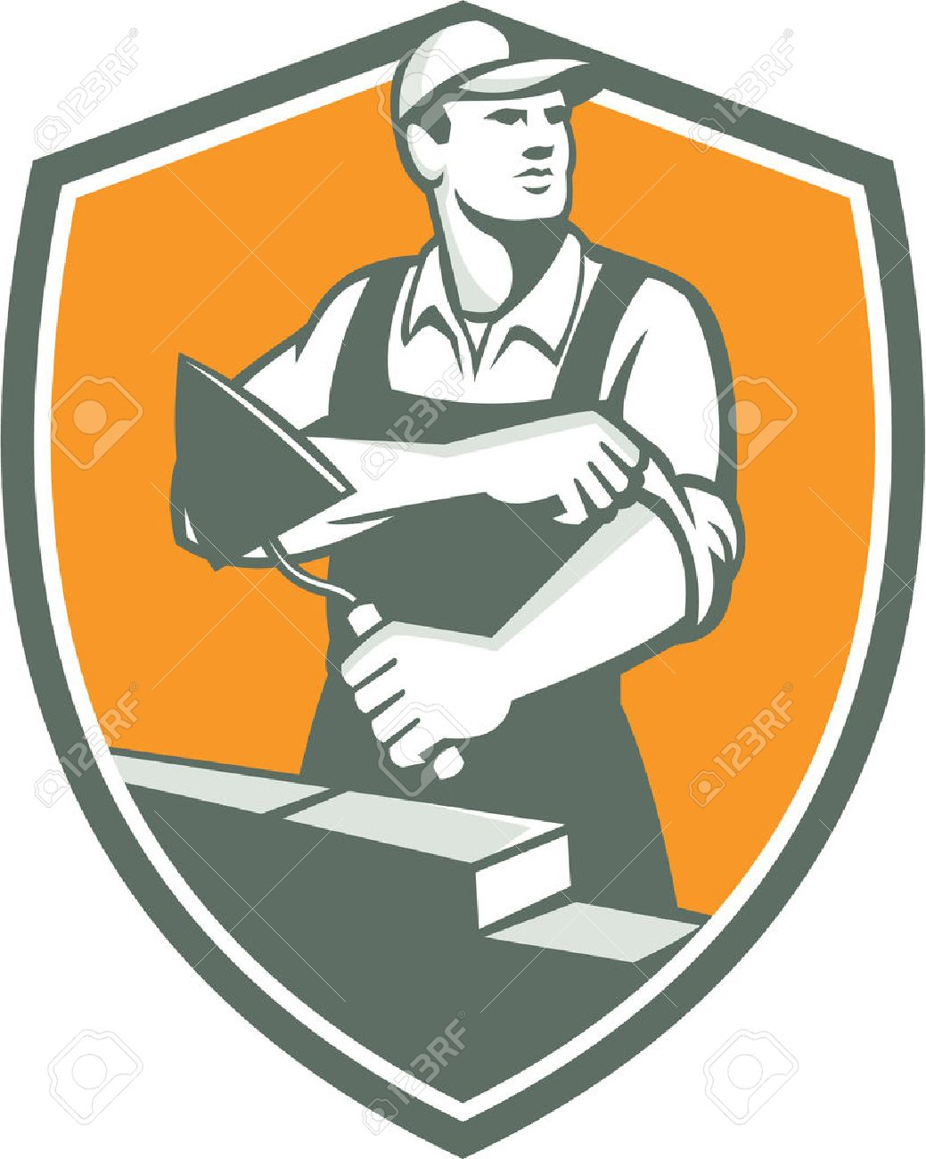 Illustration of a tiler plasterer mason masonry construction worker with trowel rolling sleeve looking to the side set inside shield done in retro style. Stock Vector - 37313568