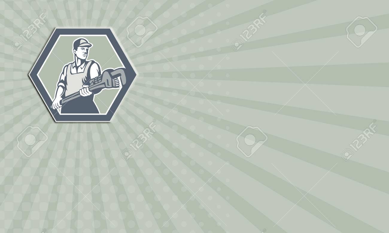 Carte De Visite Montrant Illustration Dun Plombier Avec Une Cl Plomberie Singe Mis En Regard Lintrieur Lhexagone Fait Face Dans Le Style