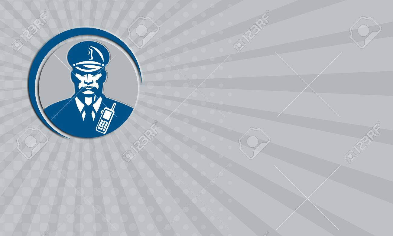 Business Card Showing Illustration Of A Policeman Security Guard ...