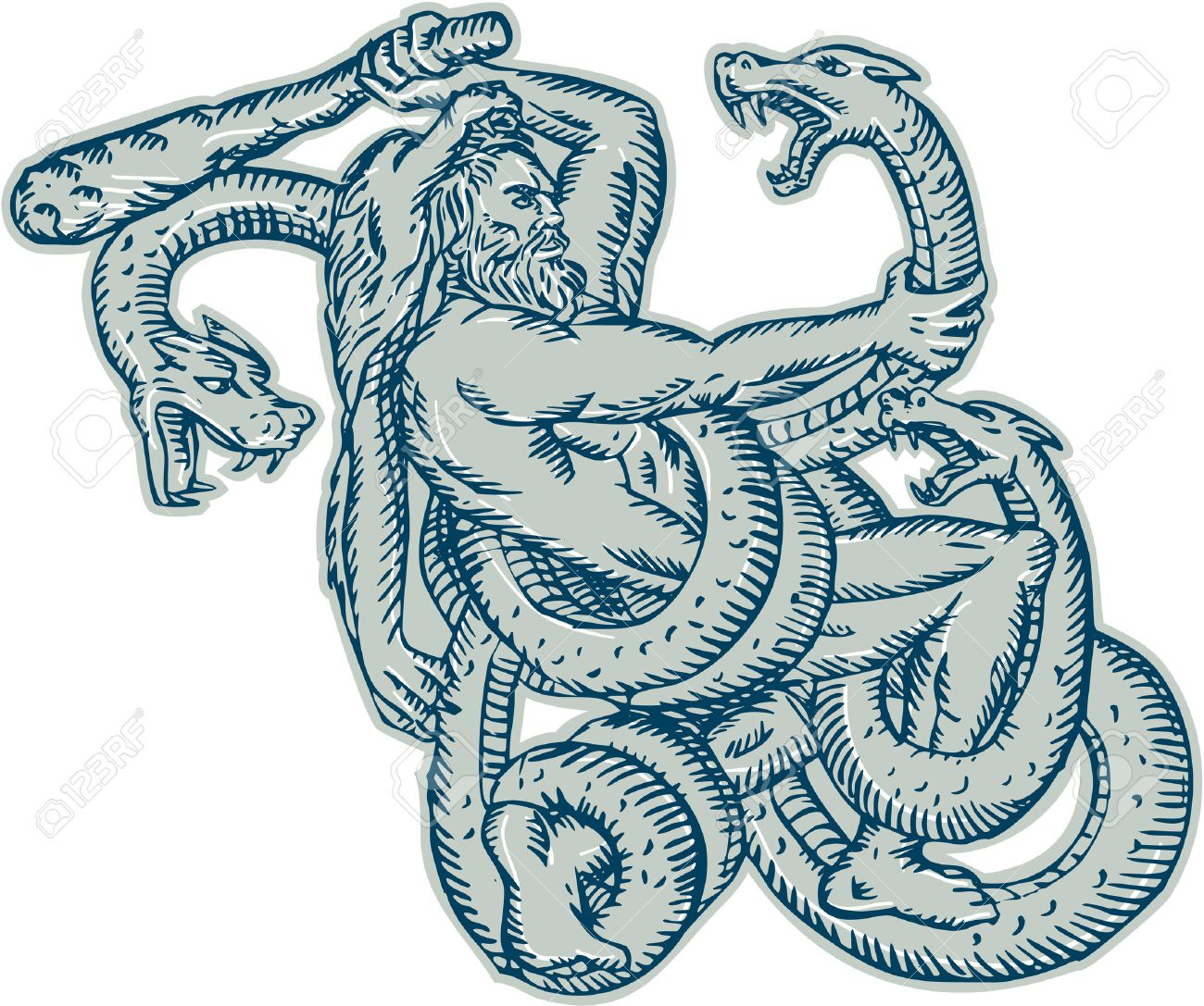 Etching engraving handmade style illustration of Hercules or Heracles of Greek mythology wearing a lion skin head fighting a Lernaean Hydra or three headed serpent on isolated white background. Stock Vector - 38680336