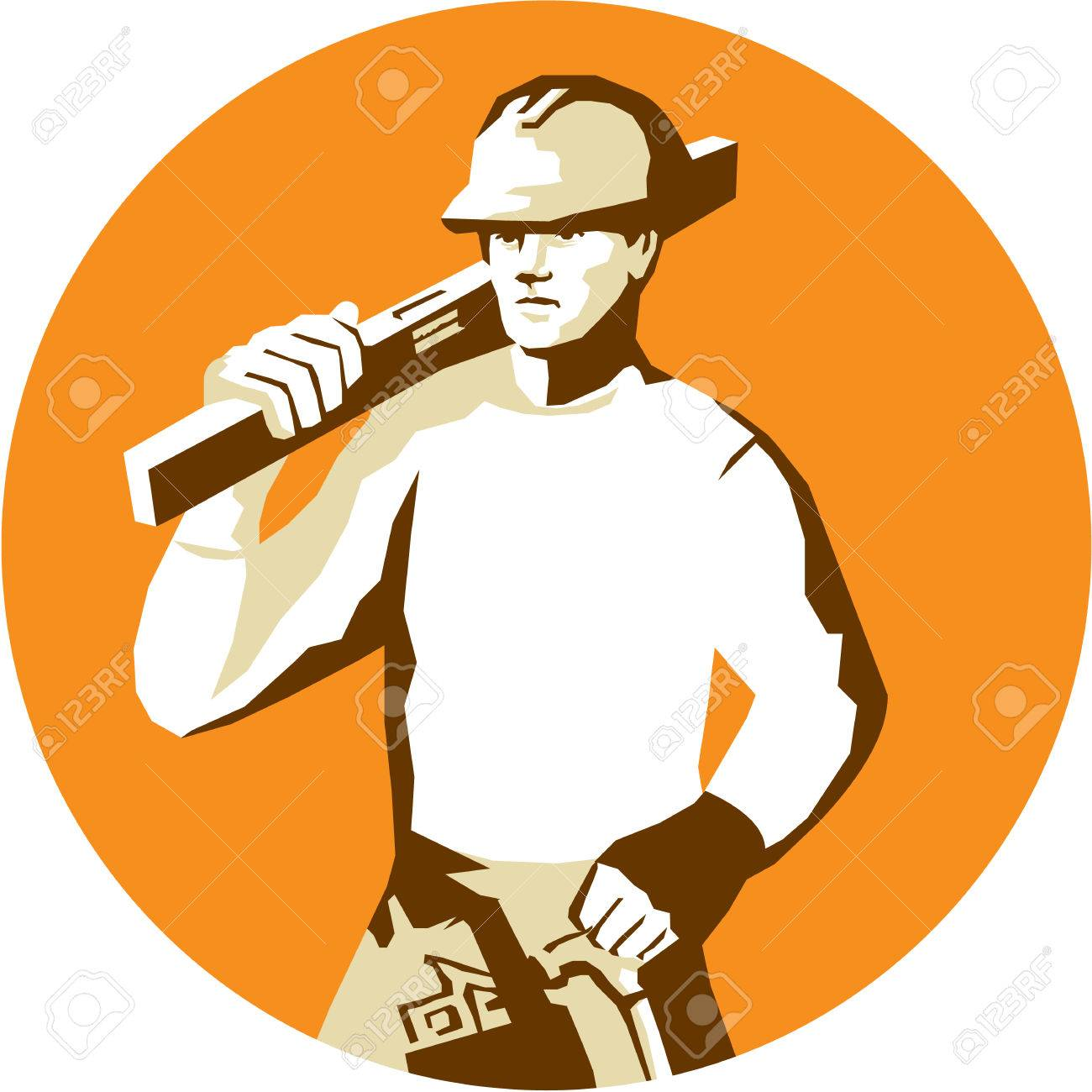 07470eabf16 Stencil style illustration of a builder construction worker with toolbelt  carrying spirit level on shoulder set