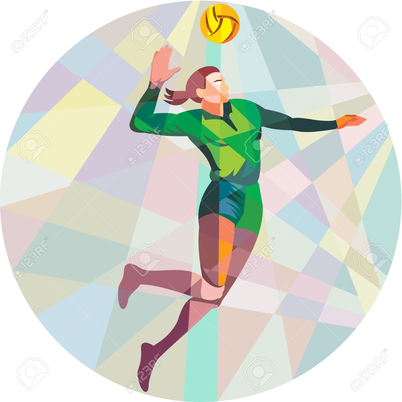 Low polygon style illustration of a volleyball player spiker jumping spiking hitting ball viewed from the side set inside circle on isolated background. - 40080548
