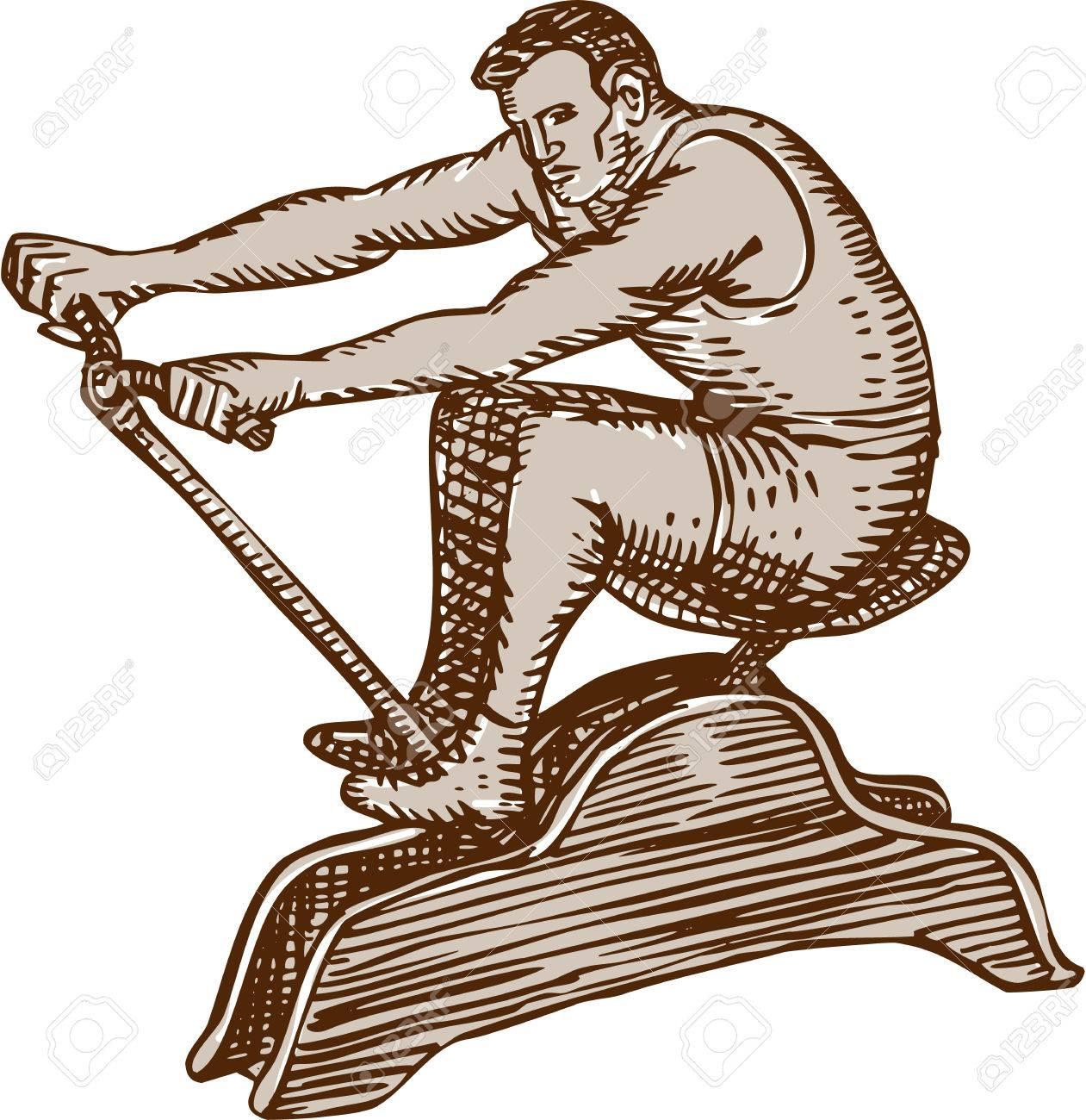 ビンテージ ローイング マシン ボートに乗って運動オスの運動選手の側