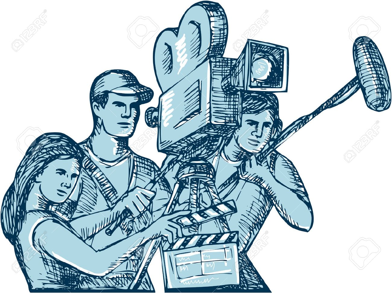 Drawing style illustration of a film crew cameraman soundman with clapperboard, microphone, video film camera filming set on isolated white background. Stock Vector - 40593632