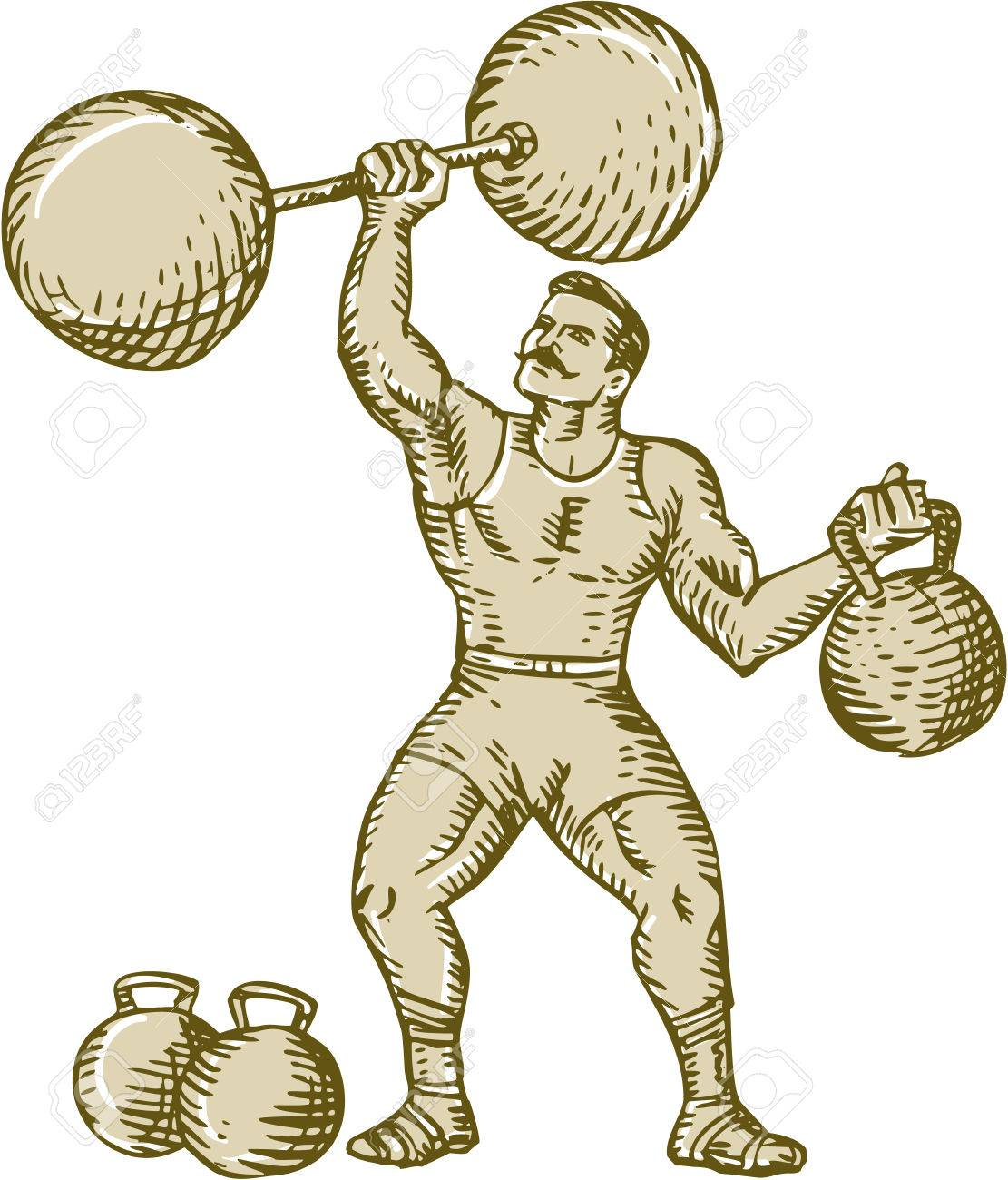 Etching engraving handmade style illustration of a strongman circus performer lifting barbell on one hand and kettlebell on the other hand set on isolated white background. - 40593713