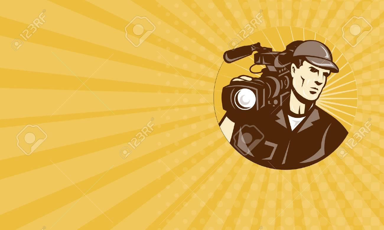 Carte De Visite Montrant Illustration Dune Equipe Tournage Cameraman Professionnel Avec Le Film Camera Video Camescope Vu Face Ensemble