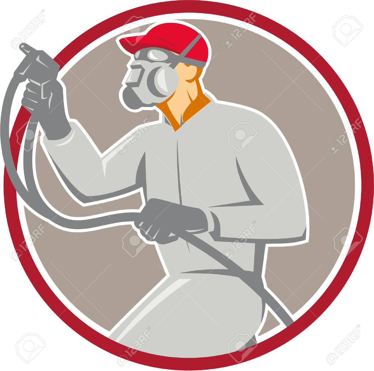 Illustration of car painter wearing mask holding paint spray gun spraying viewed from the side set inside circle done in retro style. - 42118168