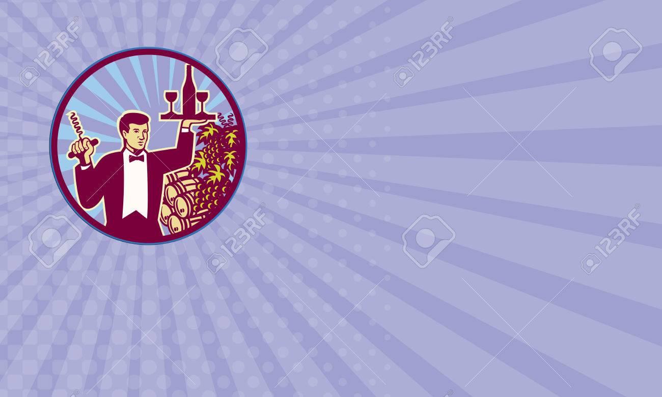 Carte De Visite Montrant Retro Illustration Style Dun Serveur Servant Transport Verre Vin Et Une Bouteille Dune Part Tire Bouchon Sur Lautre