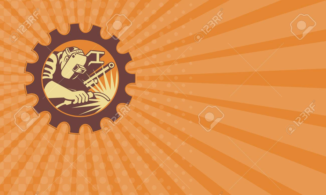 Business Card Showing Illustration Of A Welder Fabricator Worker ...