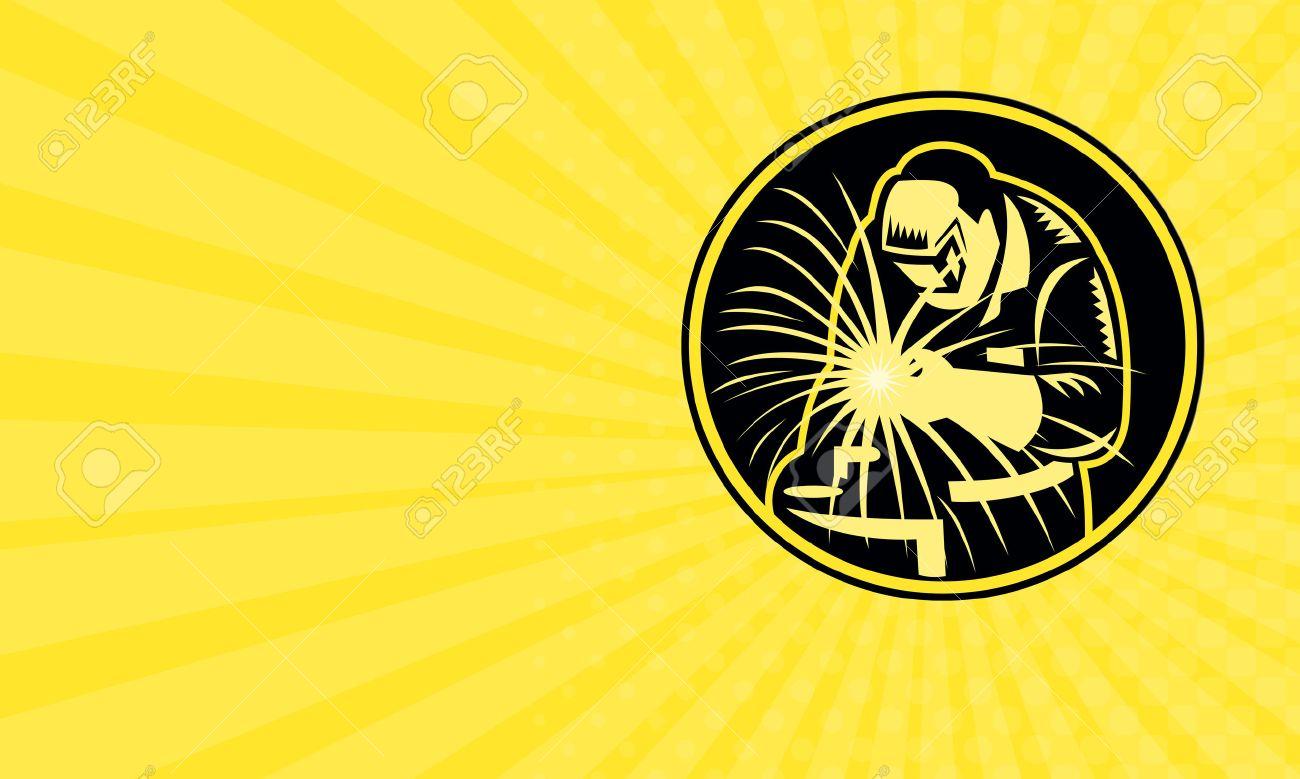 Carte De Visite Montrant Illustration Dun Soudeur Tenant La Torche