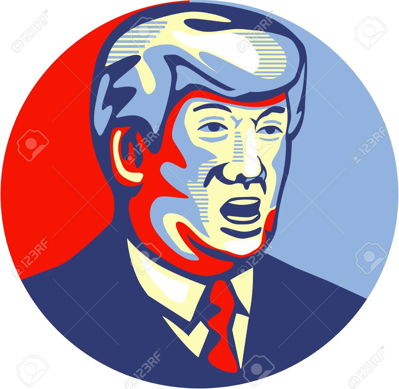 Illustration showing American real estate magnate, television personality, politician and Republican 2016 presidential candidate Donald John Trump set inside circle isolated background done in retro style. Stock Photo - 43512614