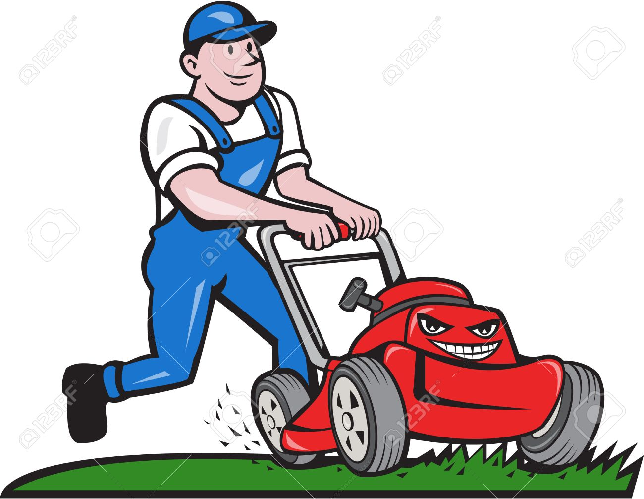 Illustration of a gardener wearing hat and overalls with lawnmower mowing lawn viewed from front set on isolated white background done in cartoon style. - 49066608