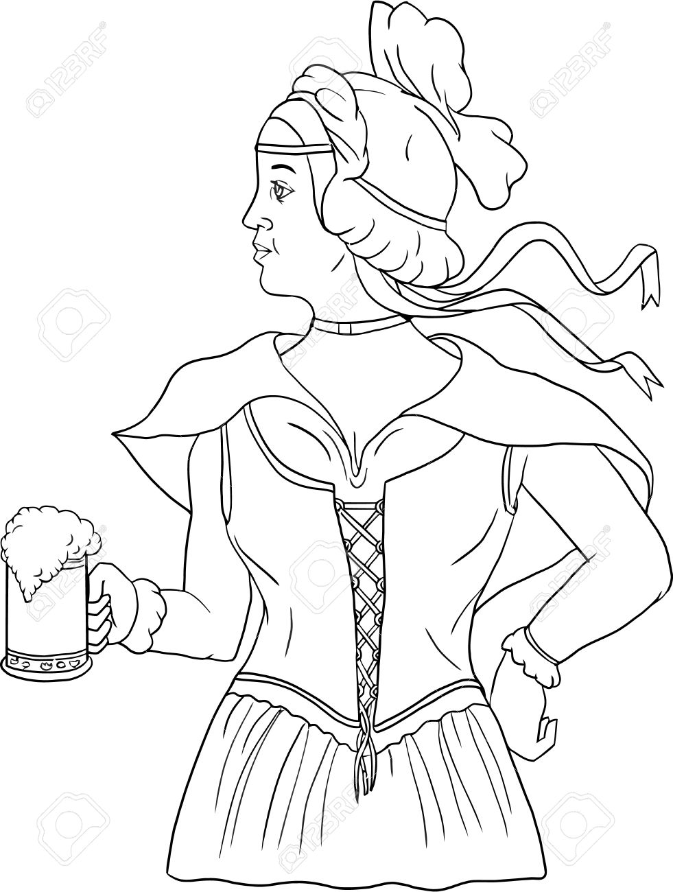White dress drawing - Drawing Sketch Style Illustration Of A German Barmaid Wearing Medieval Renaissance Costume Dress Holding A Beer