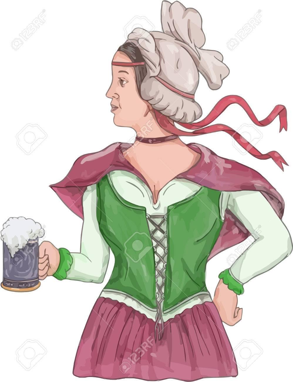 分離の背景を白に設定側から見たビール ジョッキを持って中世ルネッサンス衣装ドレスを着てドイツ ホステスの水彩風イラスト。