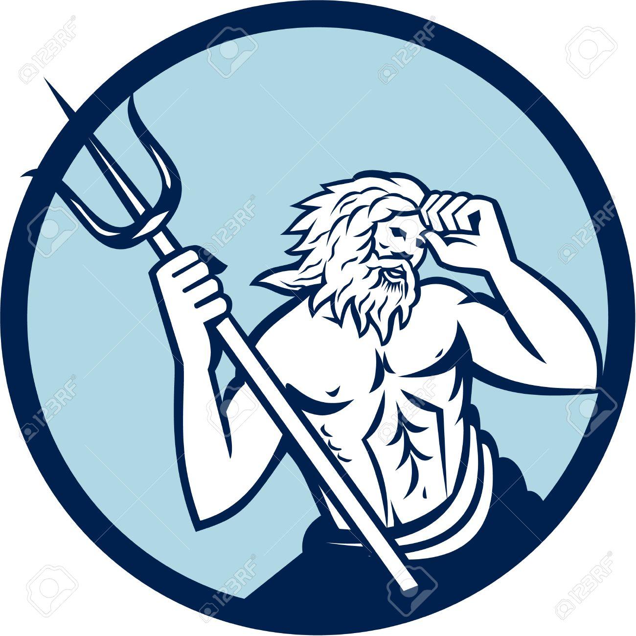 ポセイドンのトライデントを保持している海の神のイラストは円の中に
