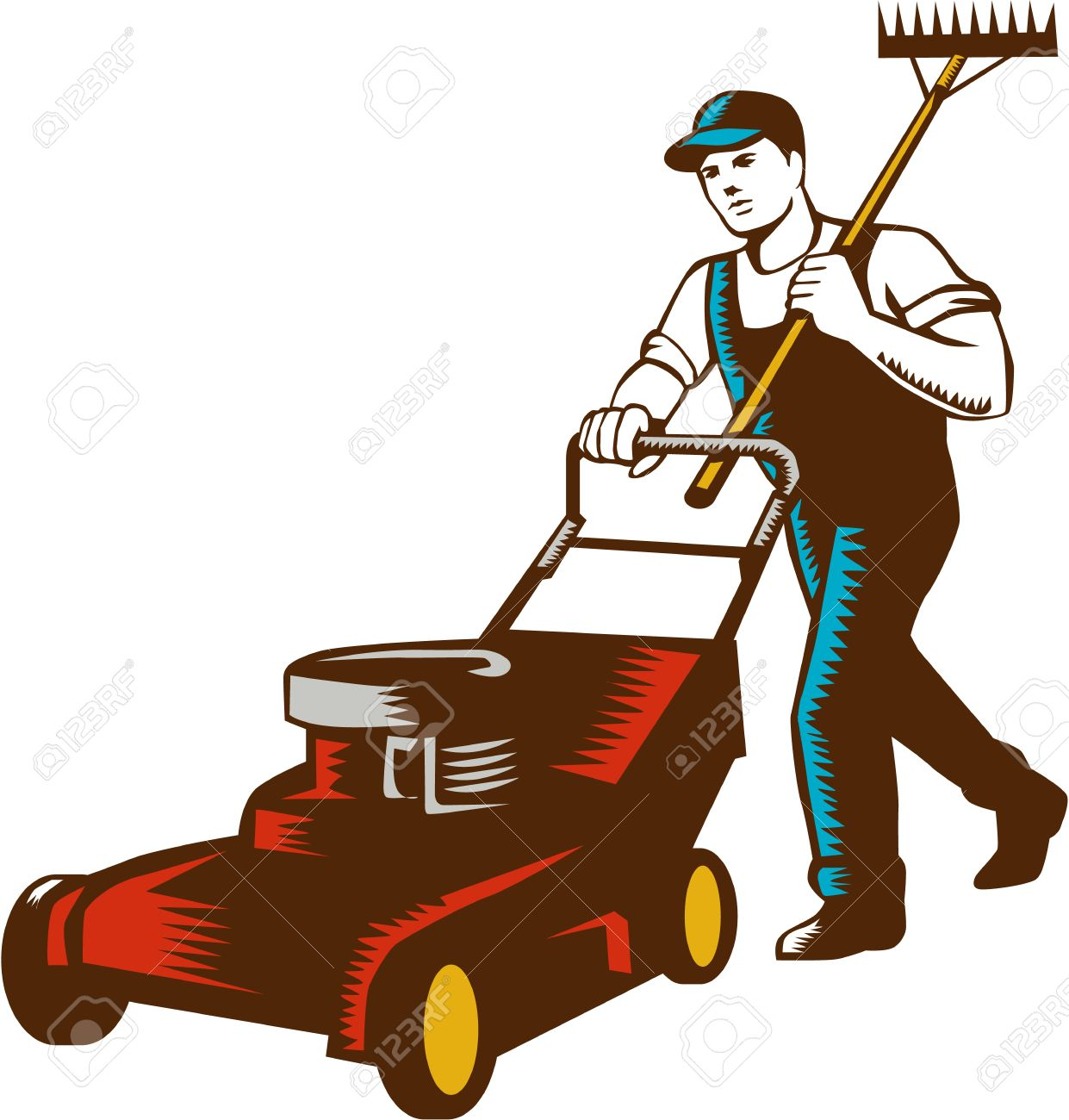Woodcut style illustration of male gardener with lawn mower mowing and holding rake on shoulder set on isolated white background. - 51846875