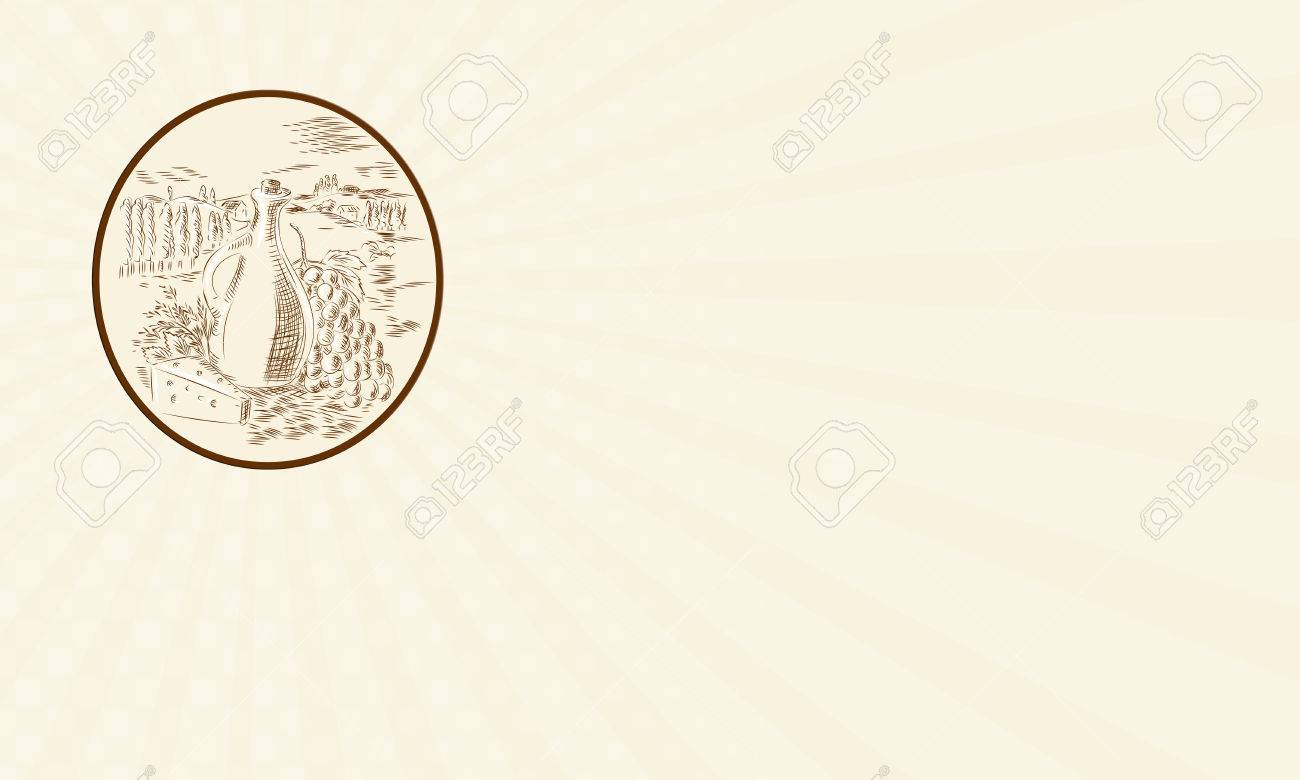 Carte De Visite Montrant Gravure Illustration Style A La Main Dun Pot Dhuile Dolive Avec Fromage Et Grappe Raisin Contre Une Campagne