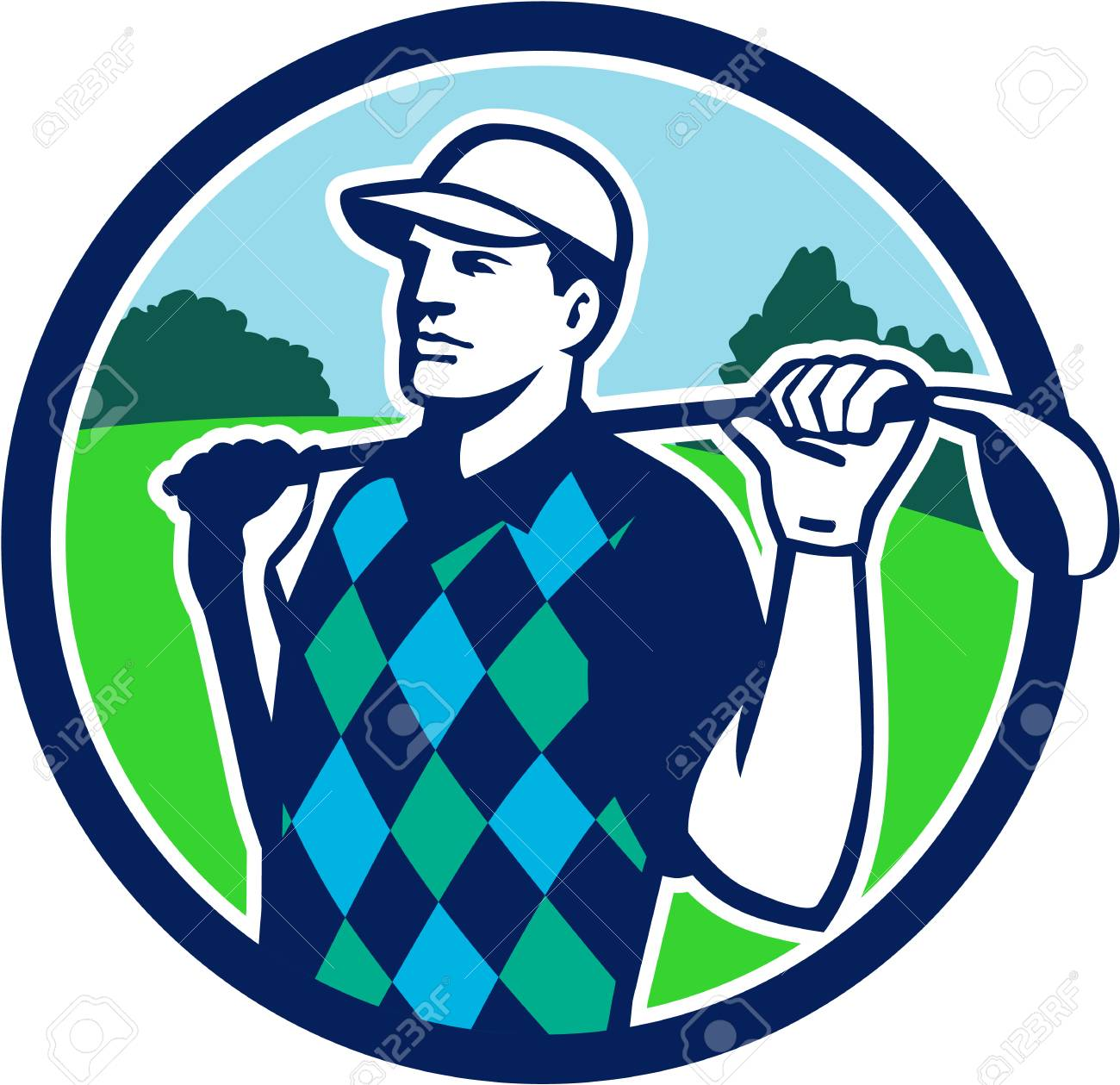 Illustration of golfer wearing argyle vest and hat holding golf club on  shoulder looking to the 079ed1716d7
