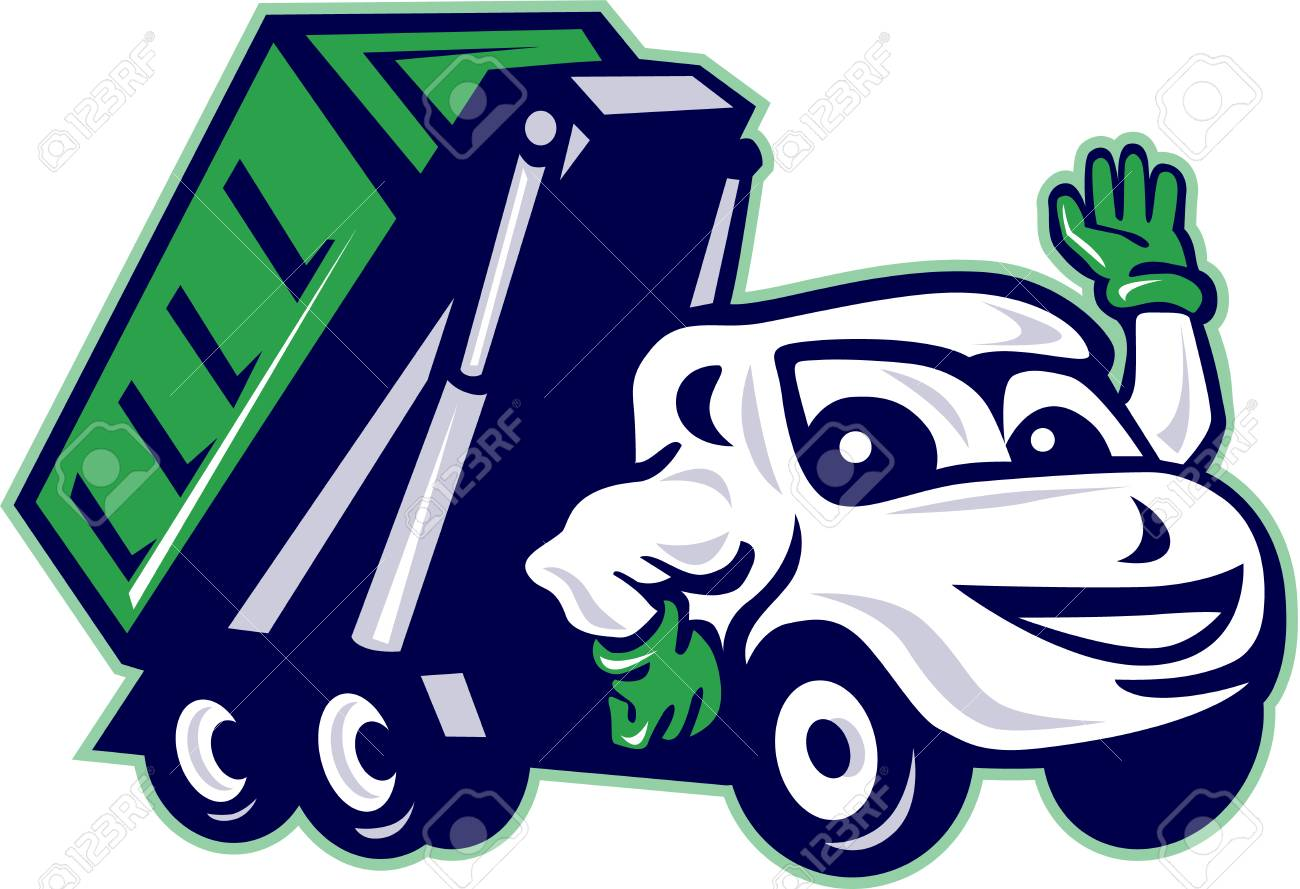 Illustration of a roll-off bin truck waving viewed from front set on isolated white background done in cartoon style. - 57153302
