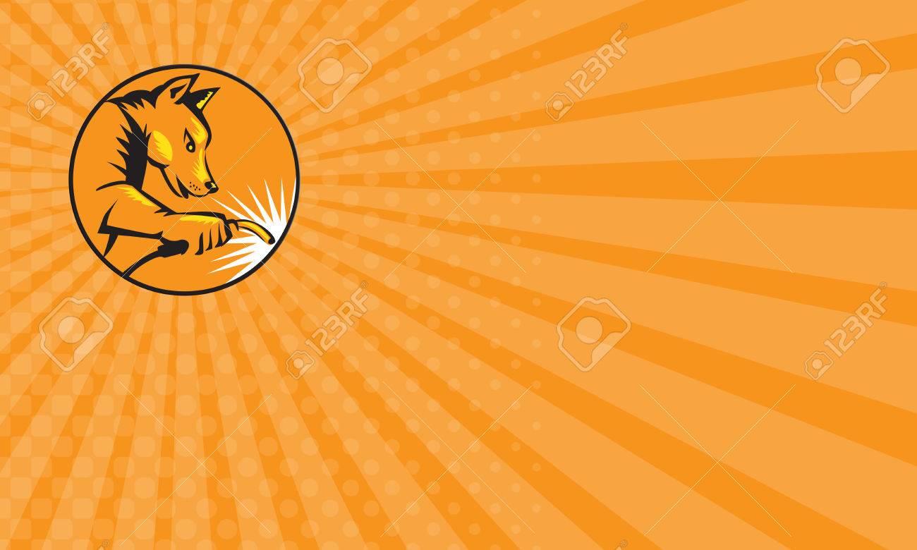 Carte De Visite Montrant Lillustration Dun Soudeur Chien Dingo