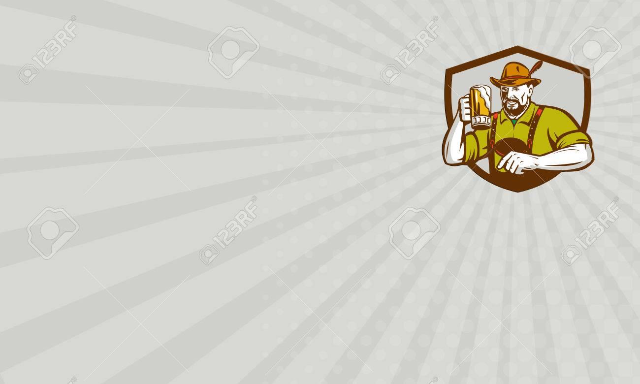 Carte De Visite Montrant Illustration Dune Bire Bavaroise Buveur Allemand Lever La Tasse Pour Les Toasts Oktoberfest Portant Lederhosen Et Un