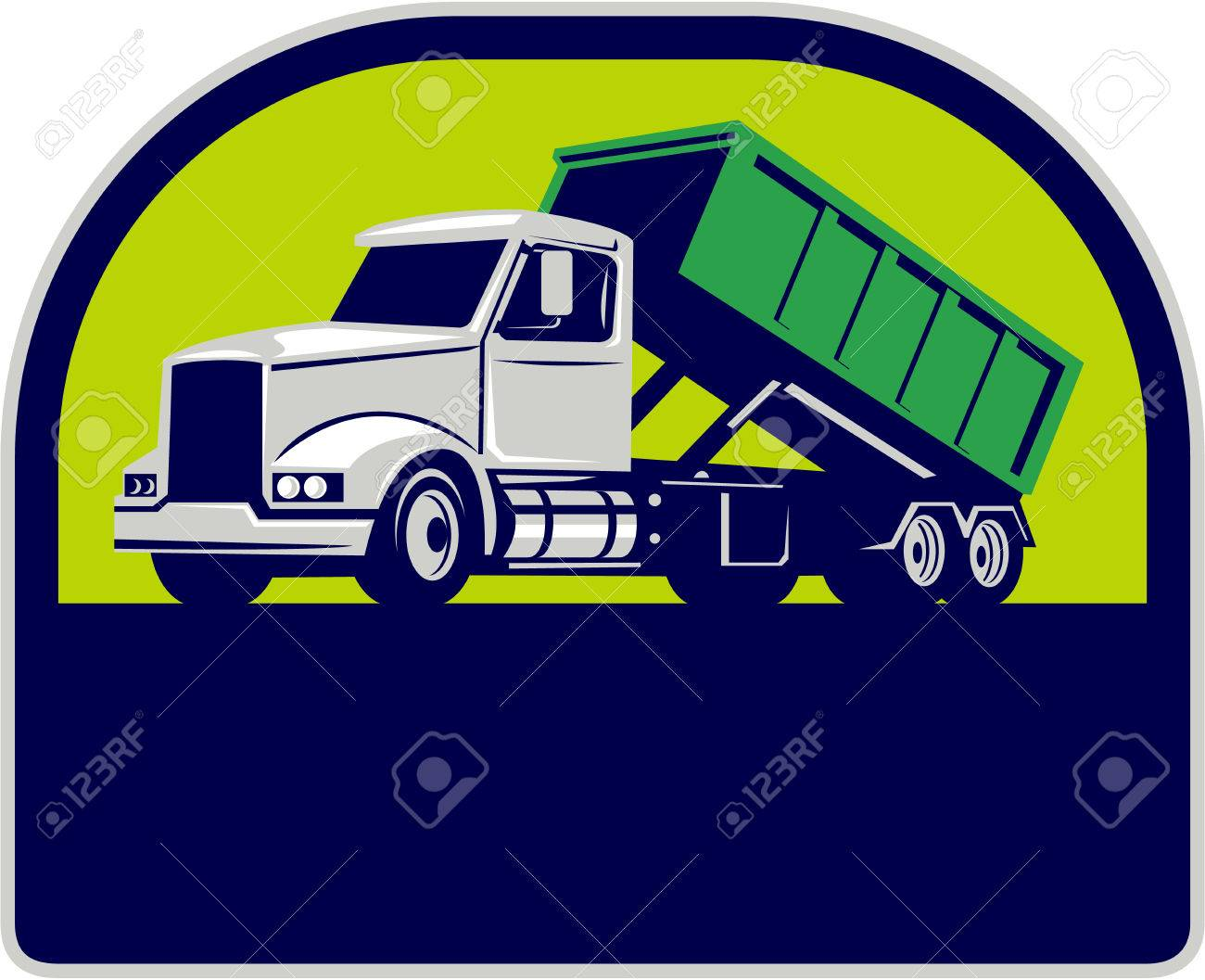 Illustration of a roll-off truck with container bin on back viewed from side set inside half circle done in retro style. - 57958547
