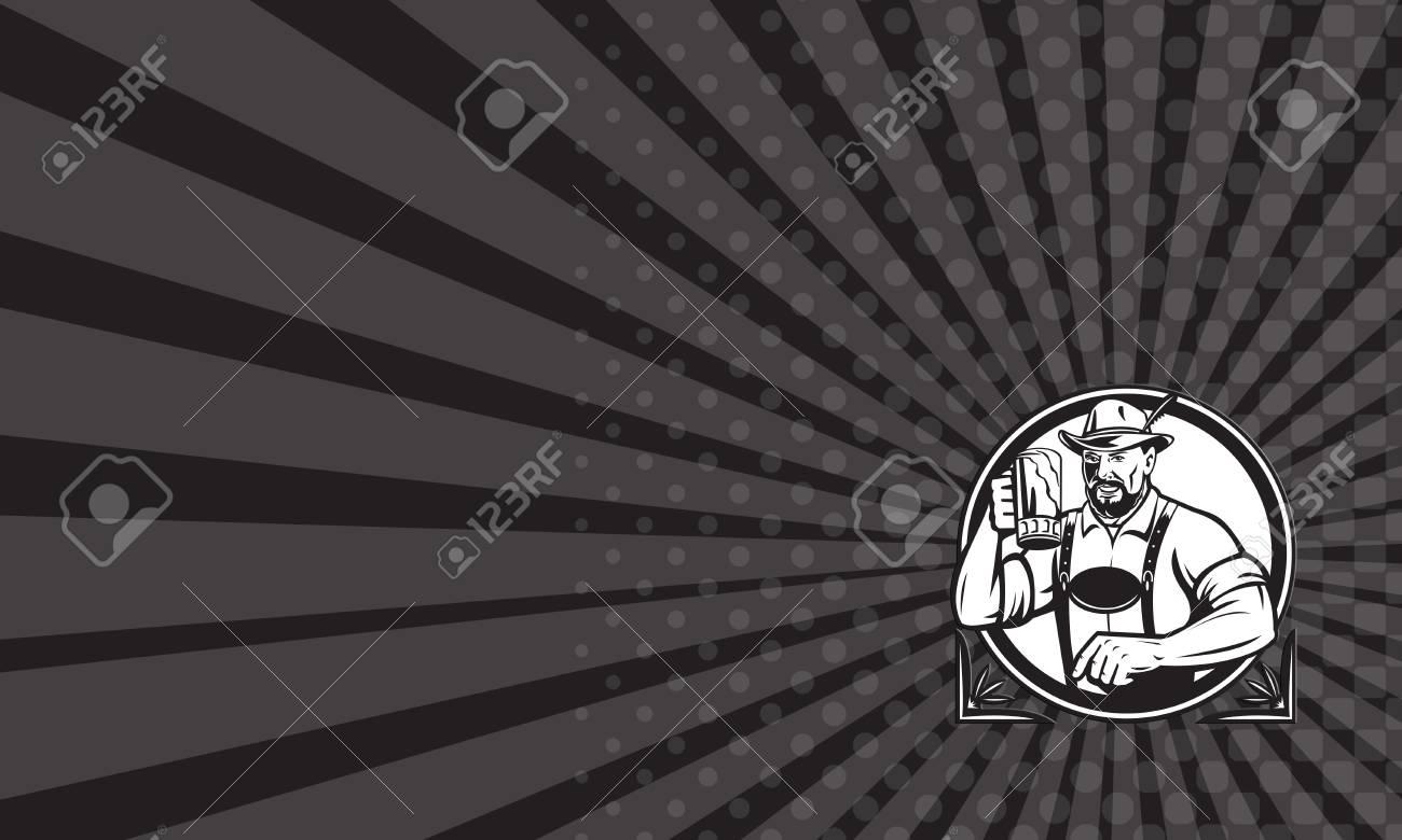 Carte De Visite Montrant Illustration Noire Et Blanche Dune Bire Bavaroise Buveur Allemand Lever La Tasse Pour Les Toasts Oktoberfest Portant