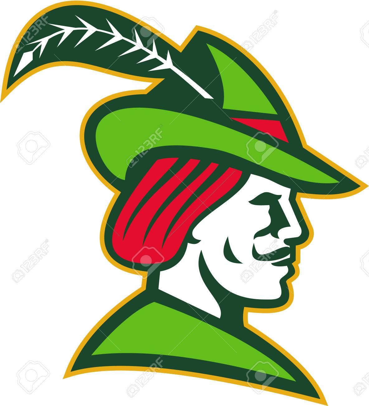Abbildung Eines Robin Hood Tragt Mittelalterlichen Hut Mit Einem