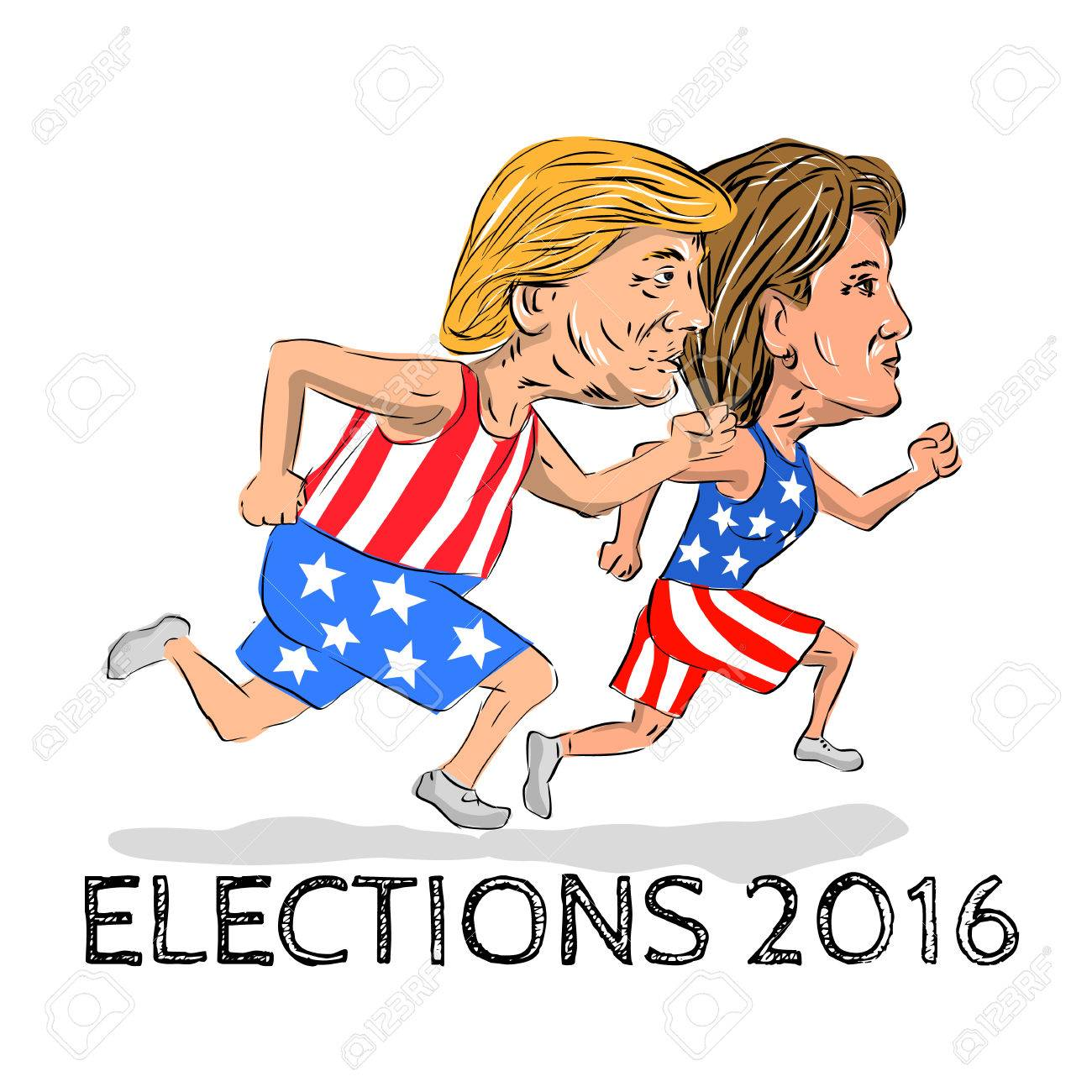 Illustration showing Republican Donald Trump and Democrat Hillary Clinton run running race for president in Election 2016 done in cartoon style. Stock Photo - 60954351