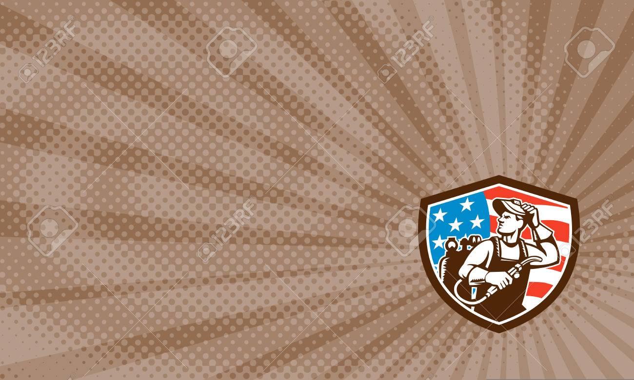 Carte De Visite Montrant Illustration Dune Tige Porte Soudeur Par Cble Et Lectrode Pour Soudage Larc Lectrique Masque Visire Regardant