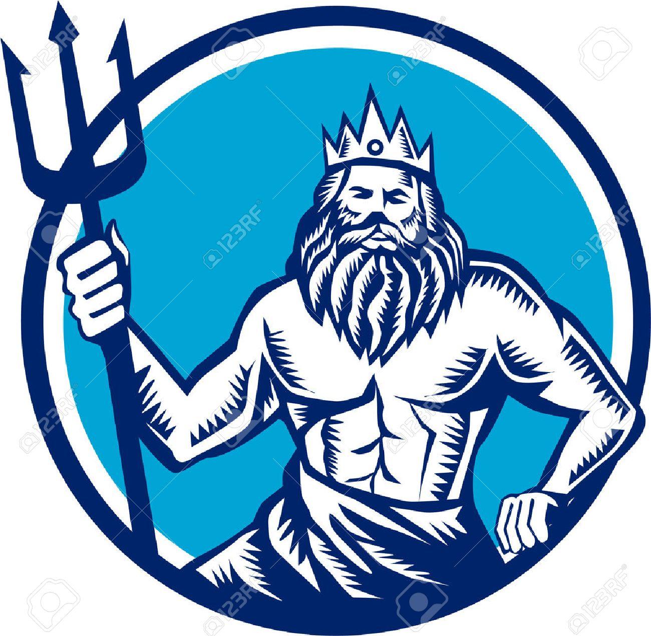 トライデントを保持している海のポセイドン神のイラストは前部レトロな