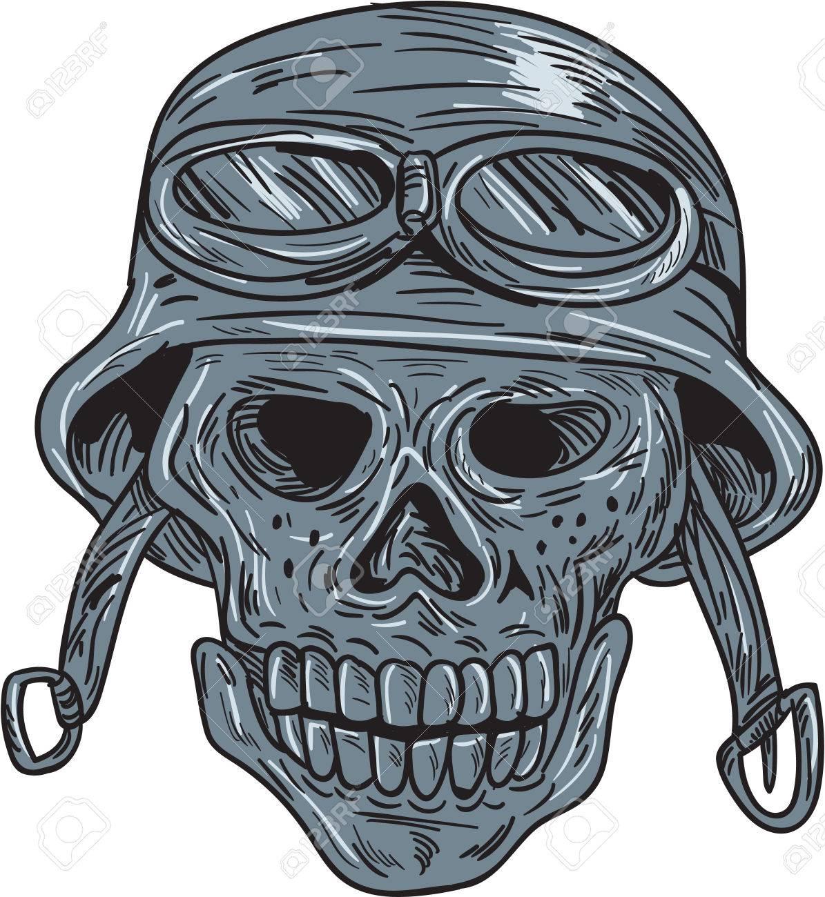 Dessin De Motard dessin croquis illustration de style d'un motard de crâne portant