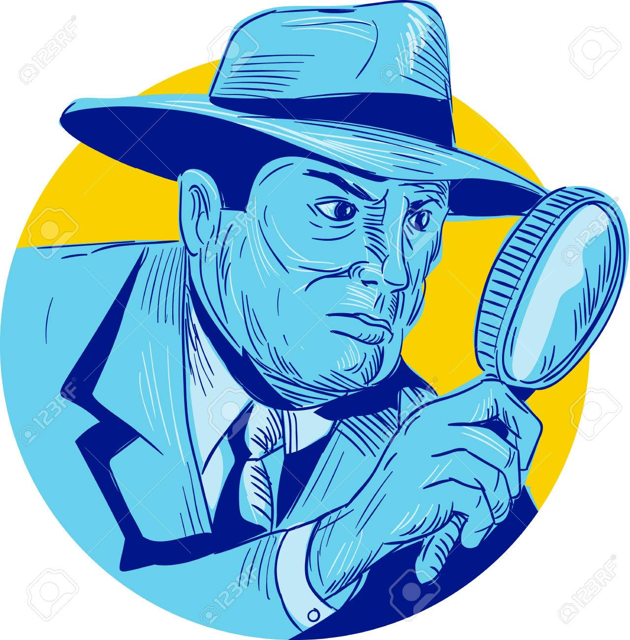 dc2babde20a Drawing sketch style illustration of a detective policeman police officer  holding magnifying glass set inside circle