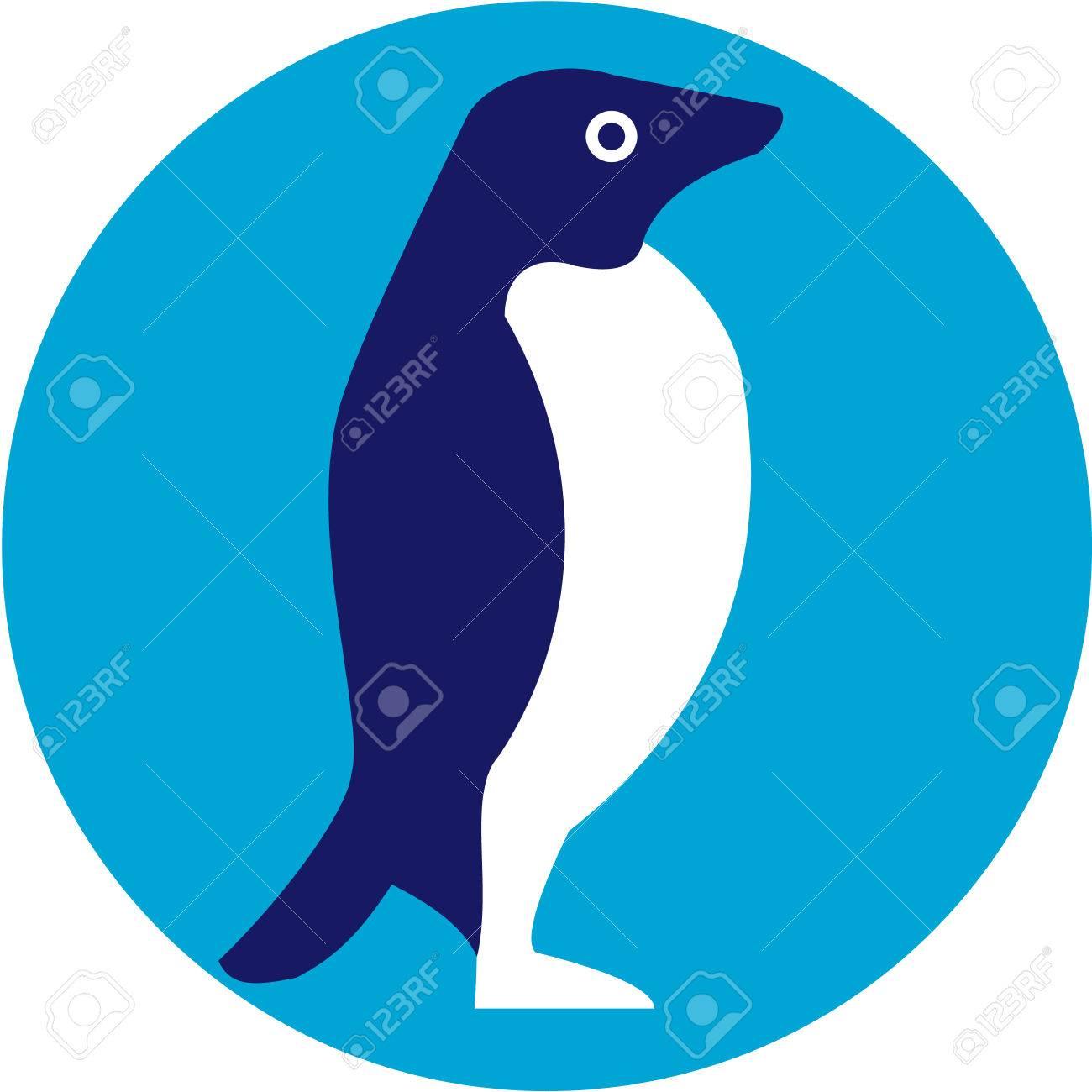 アデリー ペンギンや Pygoscelis adeliae  のイラスト、レトロなスタイルで行われるサークル内側から見た全体の南極の海岸に沿って共通のペンギンの種。
