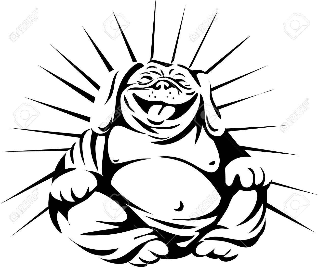 Black and white illustration of a bulldog laughing buddha sitting viewed from front set on isolated white background done in retro style. - 68286578