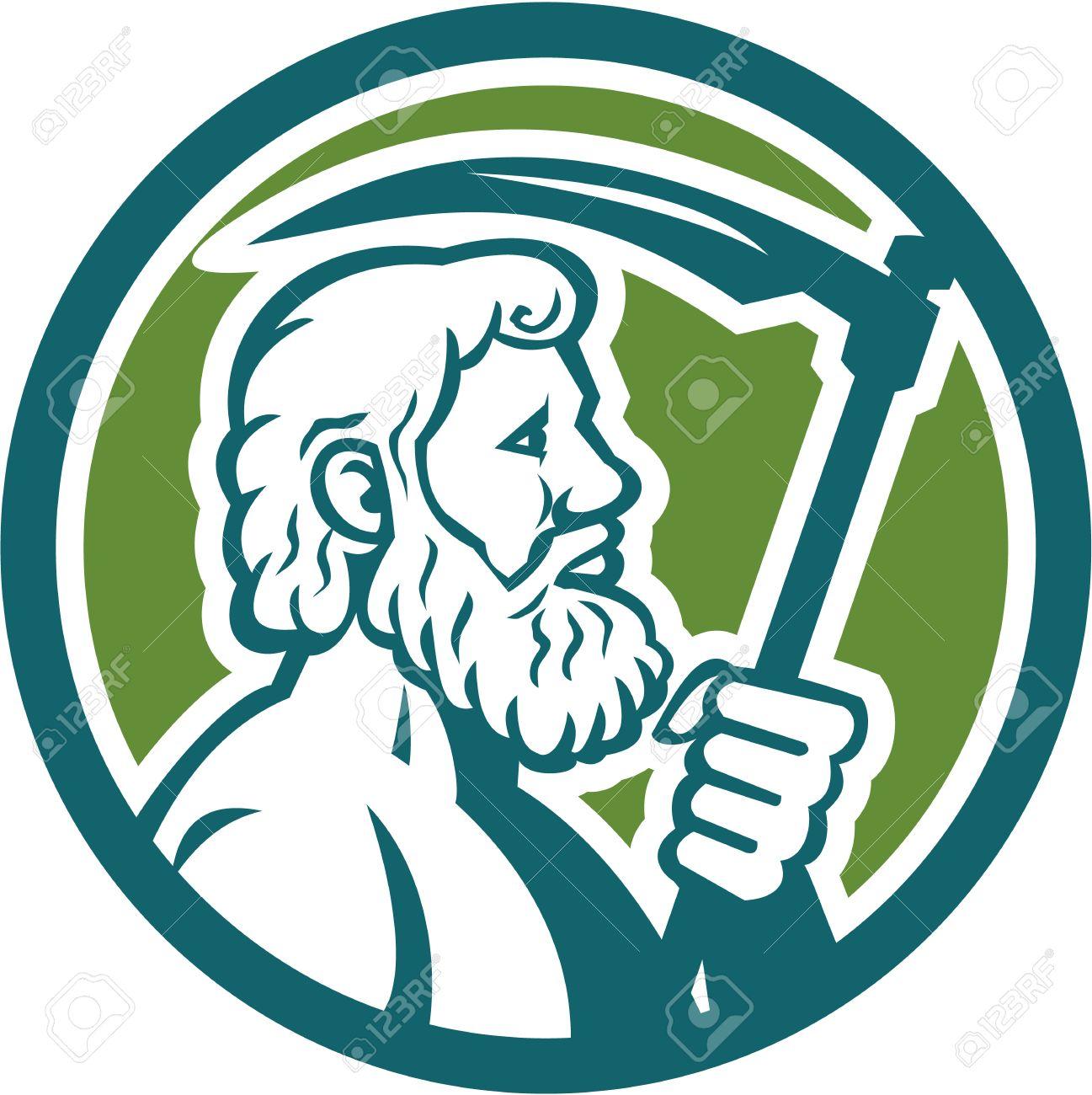 Illustration of cronus or kronos greek god and leader of titans illustration of cronus or kronos greek god and leader of titans holding a scythe buycottarizona Images