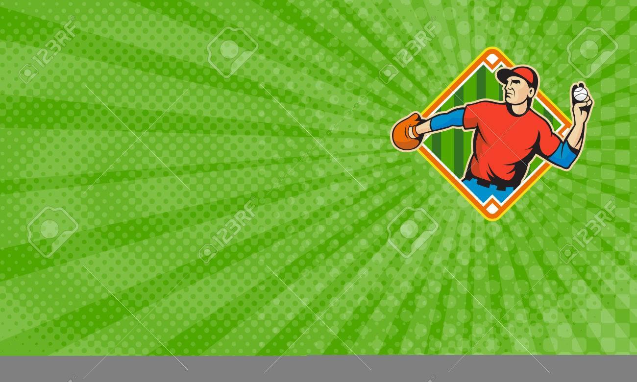 Carte De Visite Montrant Illustration Dun Joueur Baseball