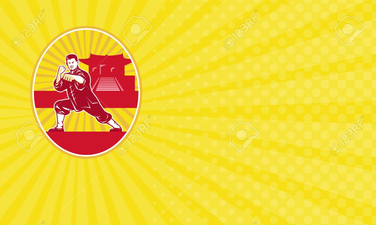 Business Card Showing Illustration Of Shaolin Kung Fu Martial ...