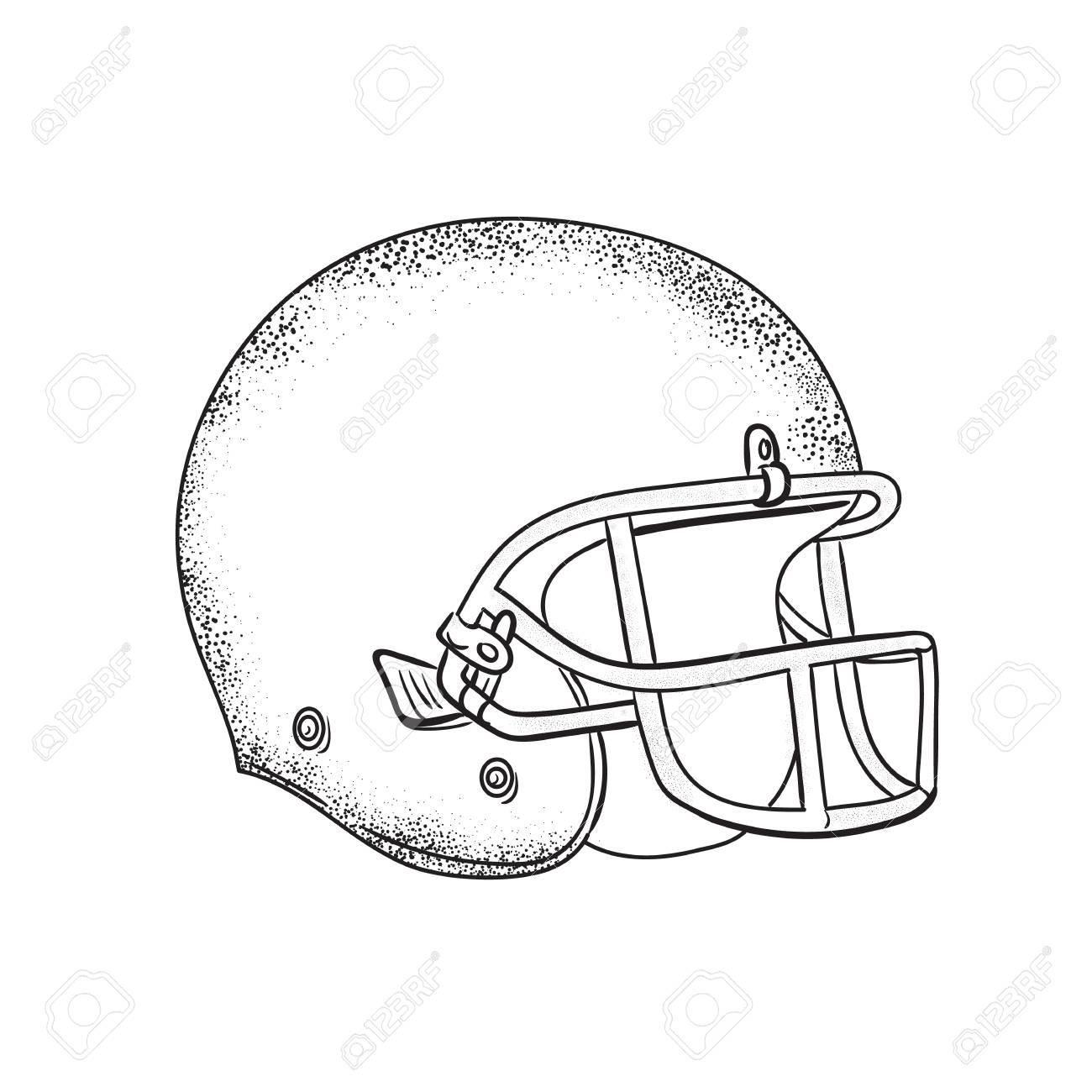 Drawing Sketch Style Illustration Of An American Football Helmet